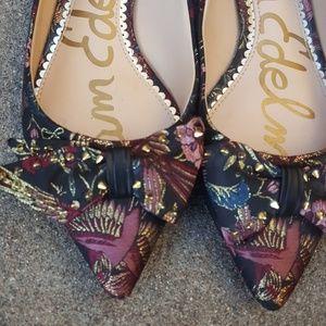 Sam Edelman slip on silky floral shoes